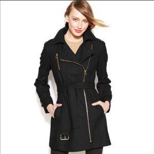 Michael Kors Asymmetrical Zip Winter Pea Coat SZ 4